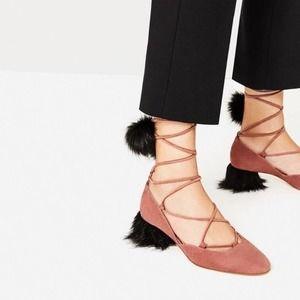 ZARA Suede Lace Up Pom Pom Mid Heel Shoes 41